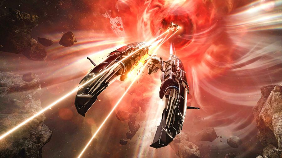 Eve Online ships battling in space