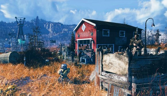 A Fallout 76 players looks out upon his barn