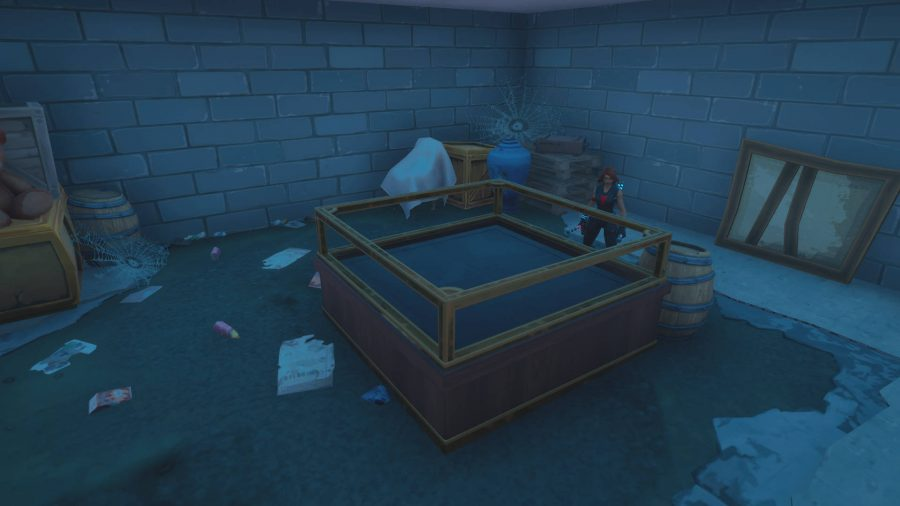 The player is looking at the Lazy Lake Fortnite anomaly puzzle location