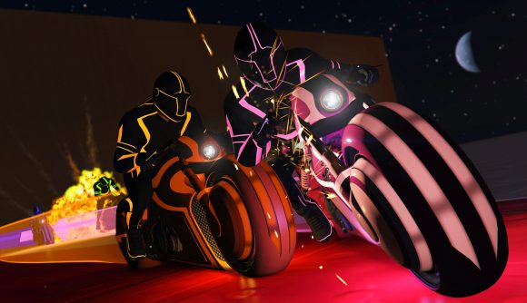 Two players racing on tron bikes in GTA Online