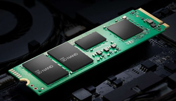 Intel's SSD with a green PCB