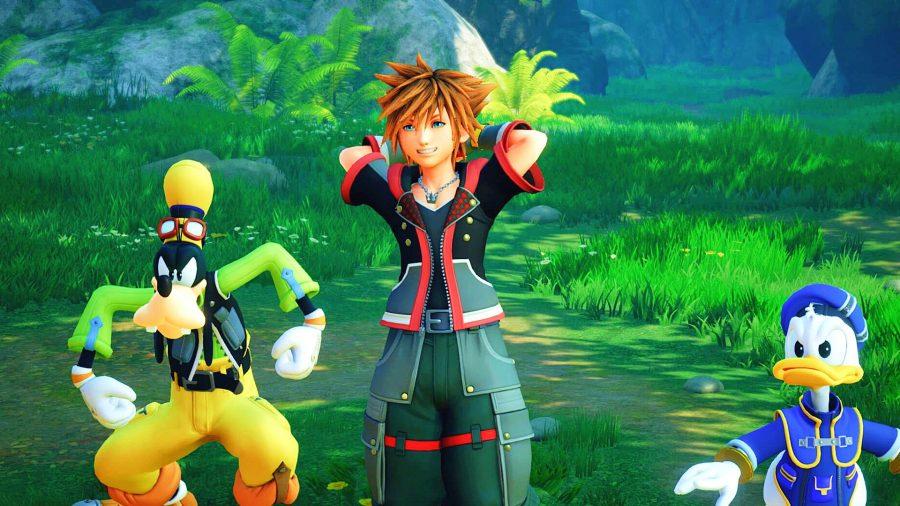 Kingdom Hearts 3 cutscene with Goofy, Donald Duck, and Sora