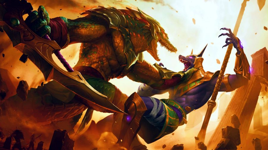 Two Ascended gods battling in Legends of Runeterra