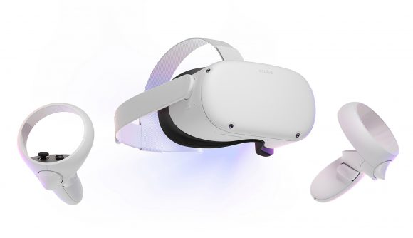 White VR headset with two controllers