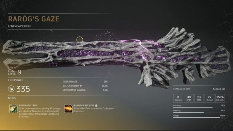 Legendary weapon Outriders covered in gray rock veins, between which are purple glowing crystals
