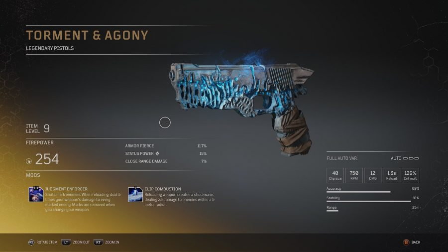 Outriders legendary weapon that appears to be worn out and covered in glowing blue light