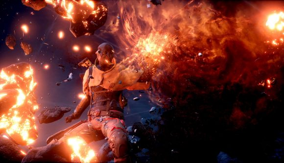 A pyromancer in Outriders using its flame abilities
