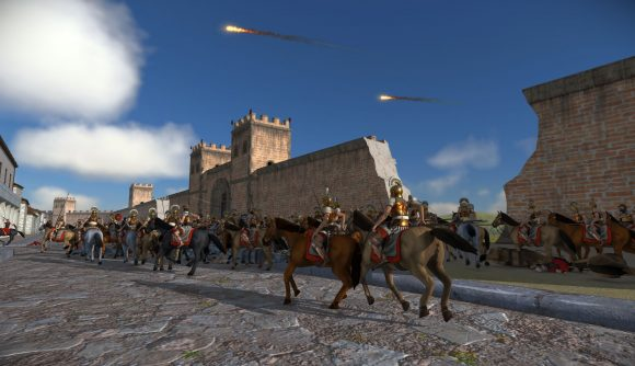 Mounted units charging down the streets in rome total war
