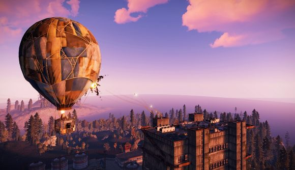 A hot air balloon floating through the sky in Rust