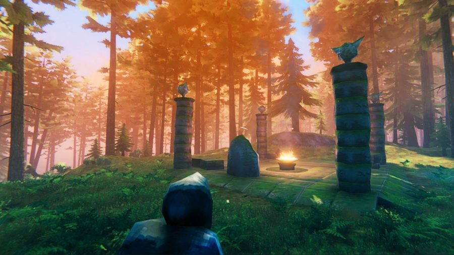 A forest in Valheim, with four columns surrounding a burning pot, has been used to summon The Elder