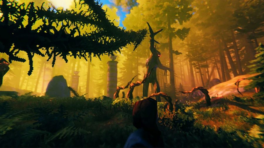 The Elder, the second Valheim boss, shooting vines at the player, as tendrils surround his wooden feet