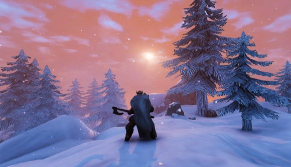 A Viking stares off into the sunset in Valheim