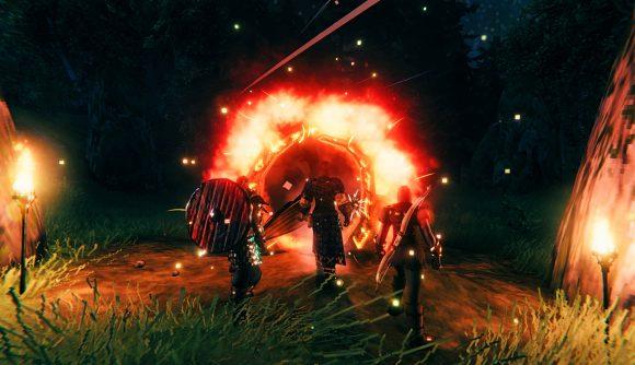 Three Vikings in Valheim staring into a portal