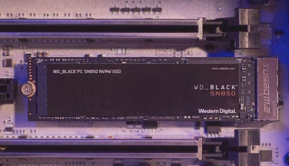 SSD with Black PCB plugged into white motherboard