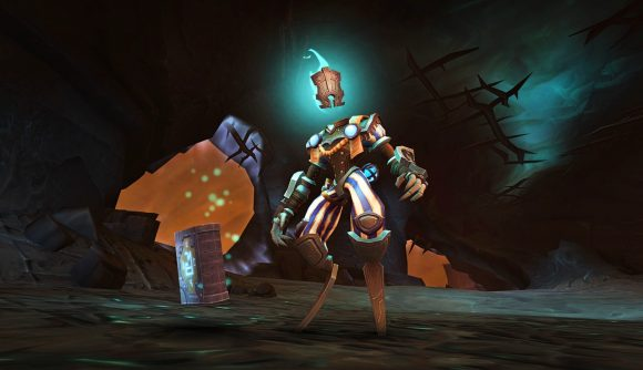 A creature in armor stares at the screen in World of Warcraft Shadowlands