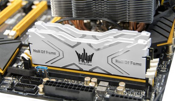 White Galax Hall of Fame DDR4 RAM modules sit in a motherboard next to a CPU cooler