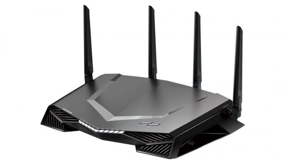Netgear's XR500 Nighthawk gaming router sits against a white background