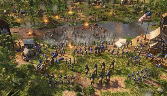 A force of US soldiers hold a river crossing in Age of Empires 3 against advancing british