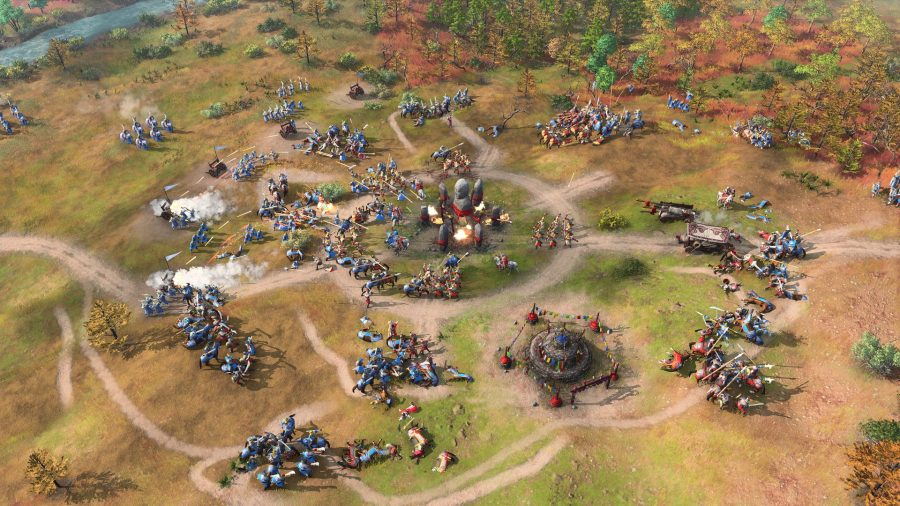 units from the new chinese civ in age of empires 4 attacking a landmark
