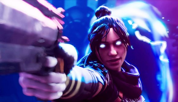 Apex Legends' Wraith aiming a gun at Caustic