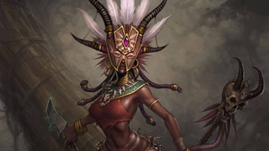 The Witch Doctor from Diablo 3 has an elaborate mask with a feather headdress. Her staff has a horned skull on it.