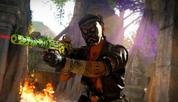 A Warzone player in a mask aiming a weapon