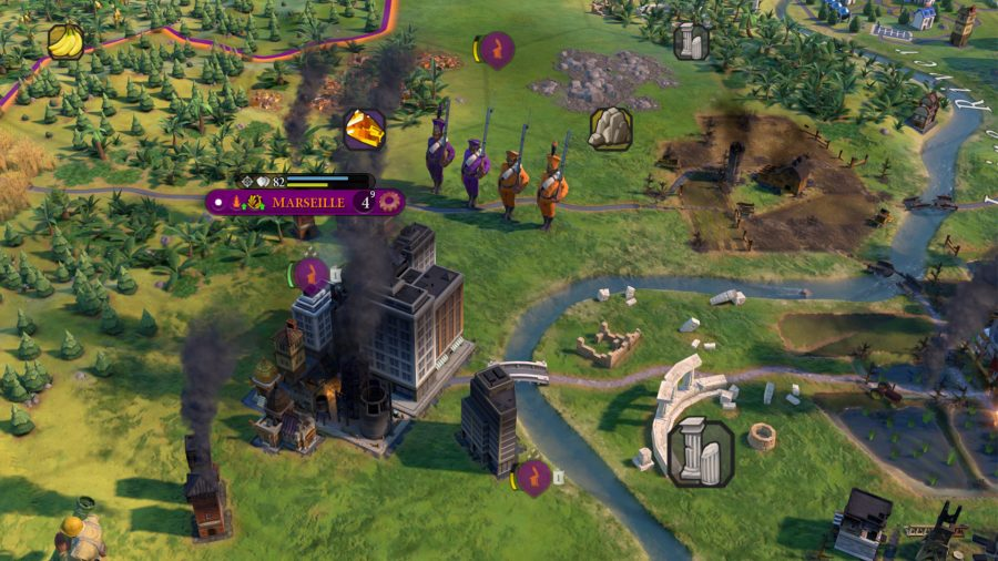 A unit of line infantry conquers a city in civ 6