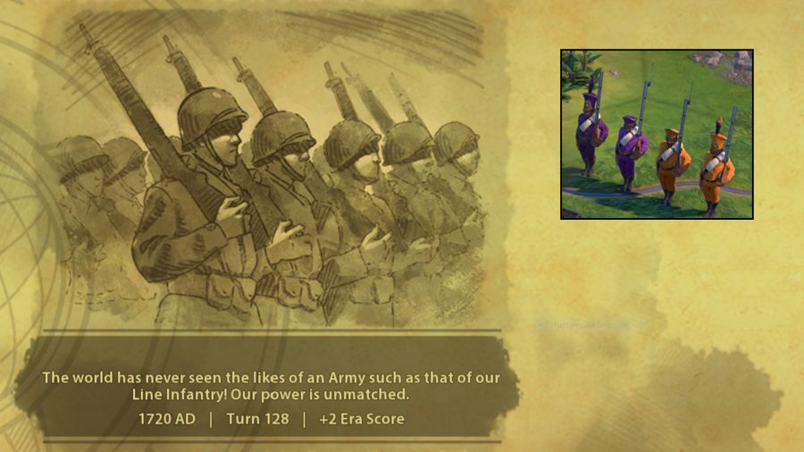 The new line infantry unit and its unlock blurb from civ 6