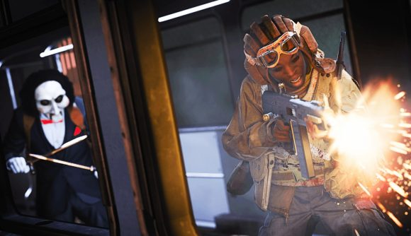 A Warzone player shoots out of a window