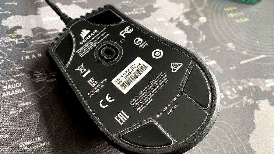The underside of Corsair's Sabre RGB Pro, showing the Pixart optical sensor