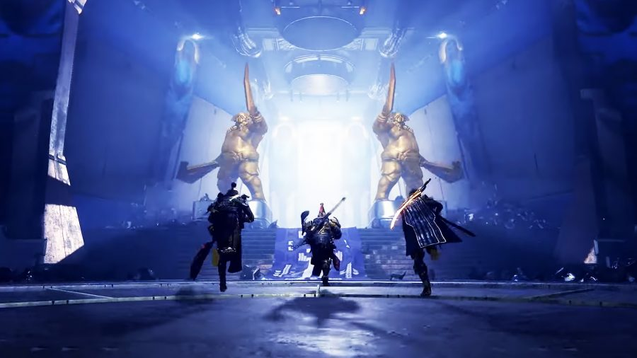 Three characters in Destiny 2 running towards a glowing entrance