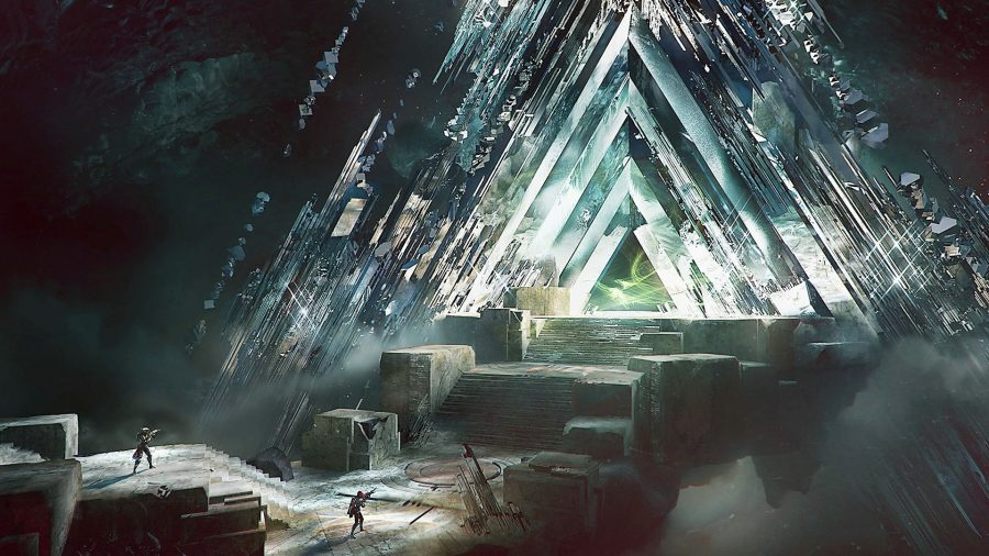 Concept art for the original Destiny Vault of Glass raid; triangular crystals form a tunnel in a cave