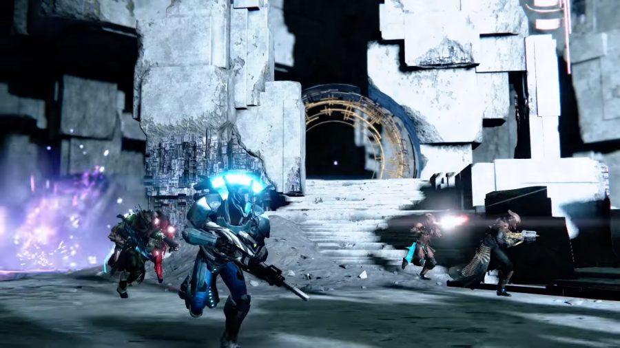 Guardians running through the Vault of Glass