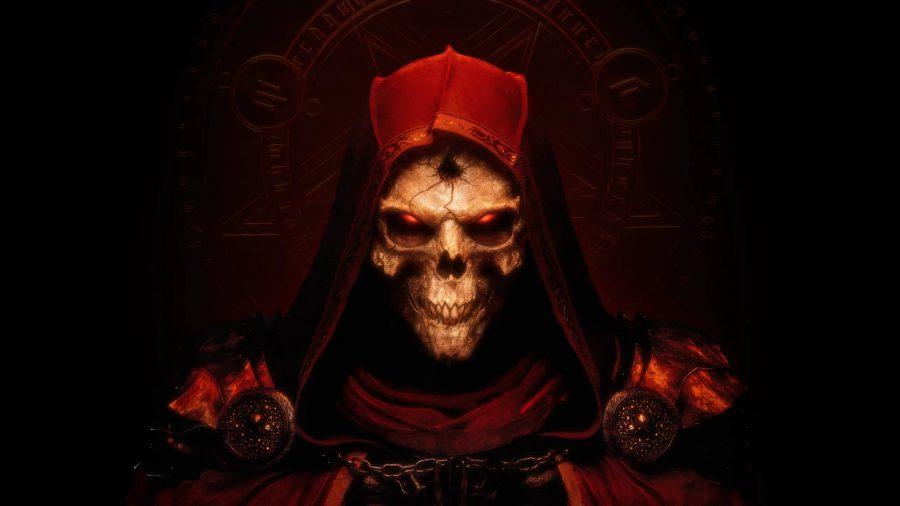 The remastered artwork of the original hooded skeleton for Diablo 2 Resurrected.