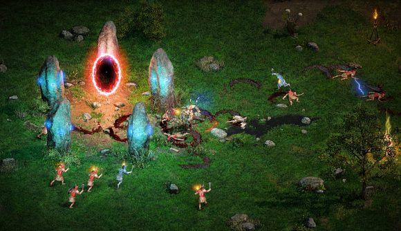 A Diablo 2 player fighting enemies