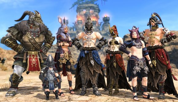 A group of FFXIV players stand in the desert