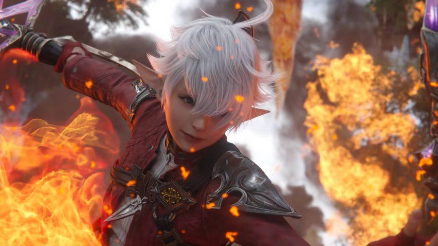A magic user in Final Fantasy XIV Endwalker trying to avoid getting burnt.
