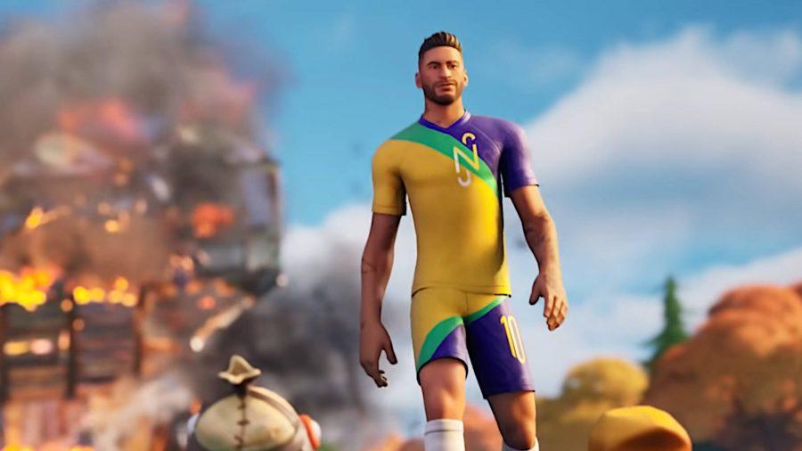 Neymar Jr in Fortnite, walking away from a burning fort.