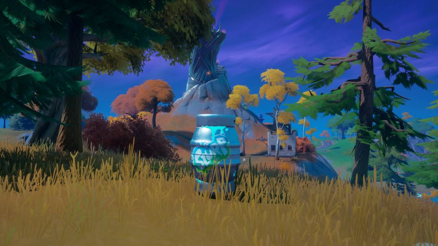 A player is using a Slurp Barrel prop disguise in Fortnite while standing near a spire.