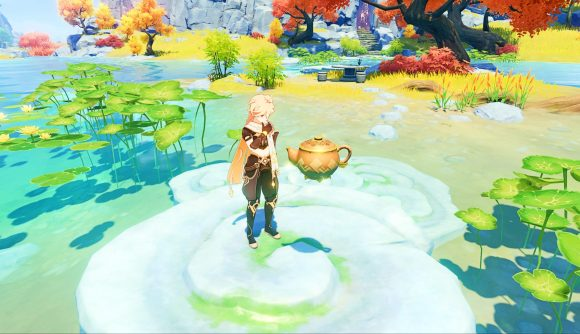 The Traveller stares at a new teapot in a pond
