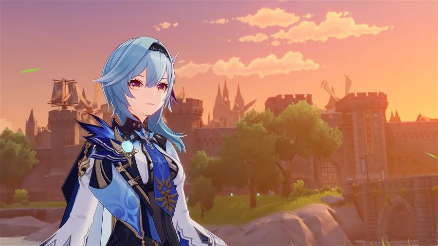 Genshin Impact Eula standing in front of a city at sunset