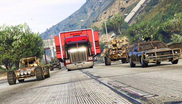 A trucker speeds down the motorway alongside some cars in GTA Online