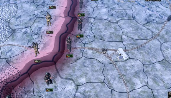 the eastern front in hearts of iron four showing railways and soldiers
