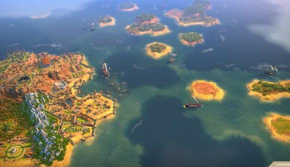 Humankind coastal area with small island