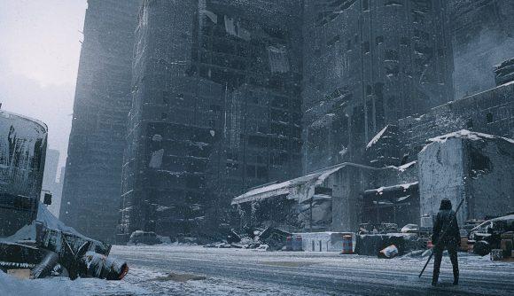 A boy stares into a snowy city in Nier Replicant