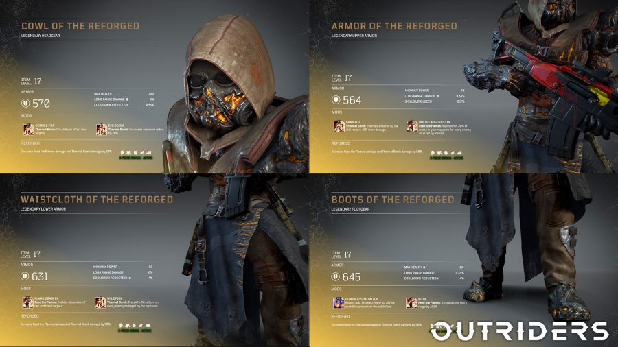 The legendary Reforged armour set for the Pyromancer in Outriders