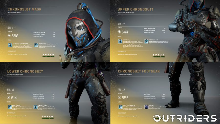 The legendary Chronosuit armour set for the Trickster in Outriders