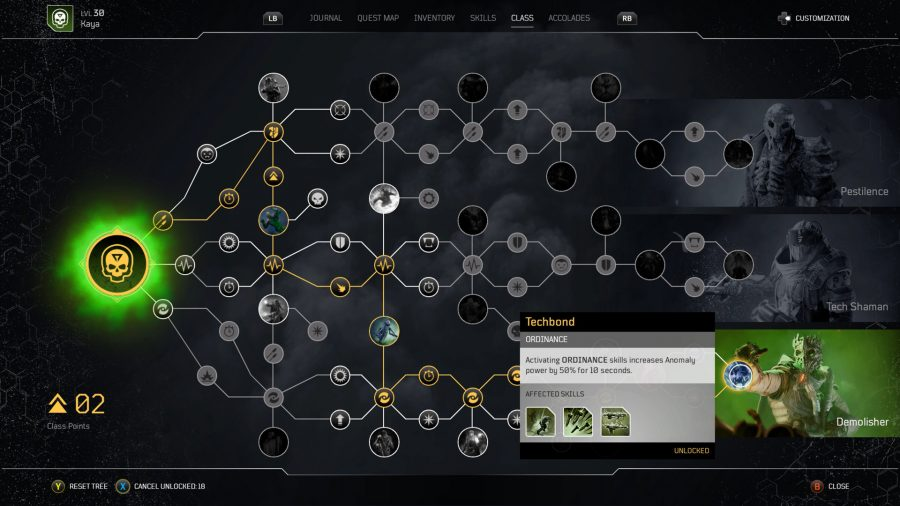 A skill tree in Outriders