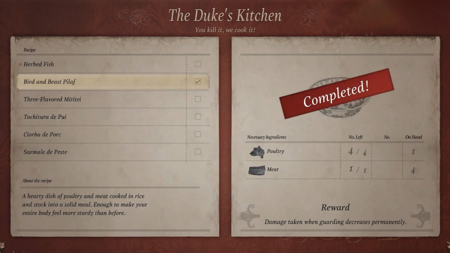 Меню крафта в The Duke's Kitchen