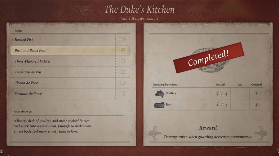 Блюдо для плова «Птица и чудовище» на кухне герцога в Resident Evil Village приготовлено.